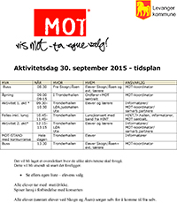 MOT-aktivitetsdag 30. september 2015 - klikk for tidsplan
